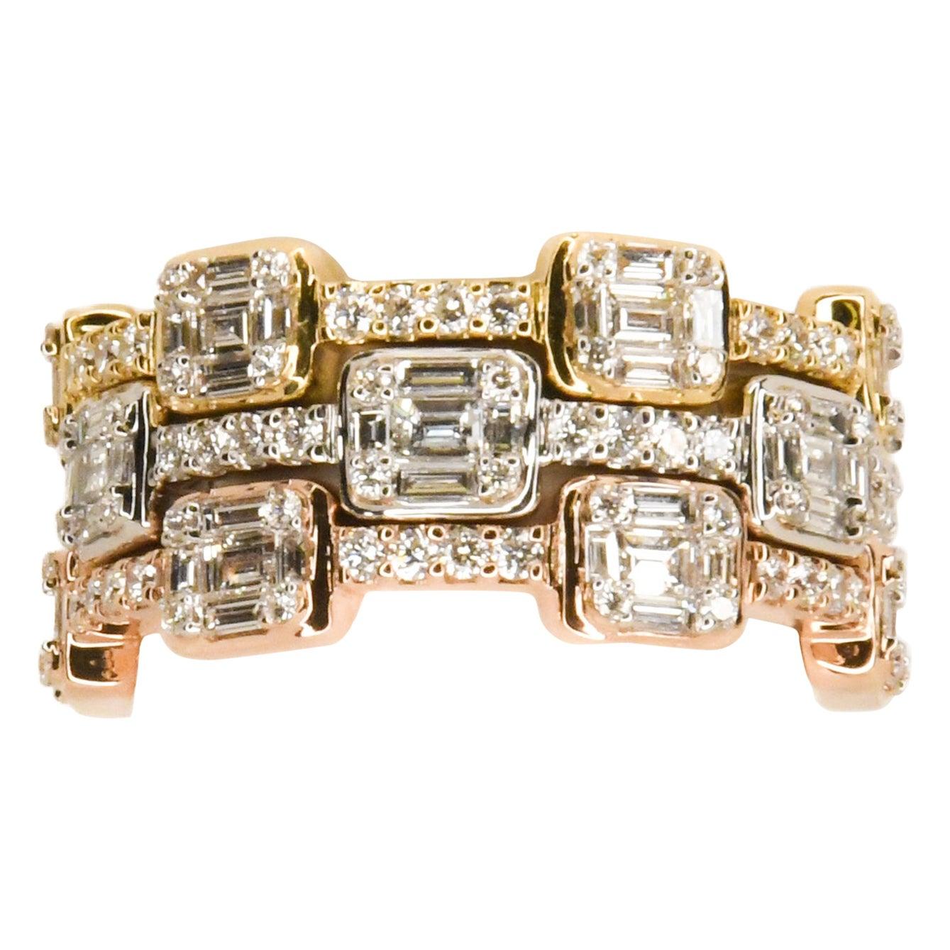 18 Karat Rose, White, Yellow Gold Set of 3 Diamond Stacking Eternity Rings