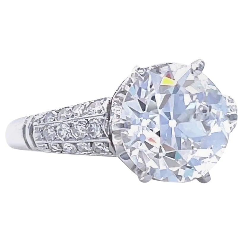 Art Deco GIA 3.06 Carat Old European Cut Diamond Platinum Engagement Ring