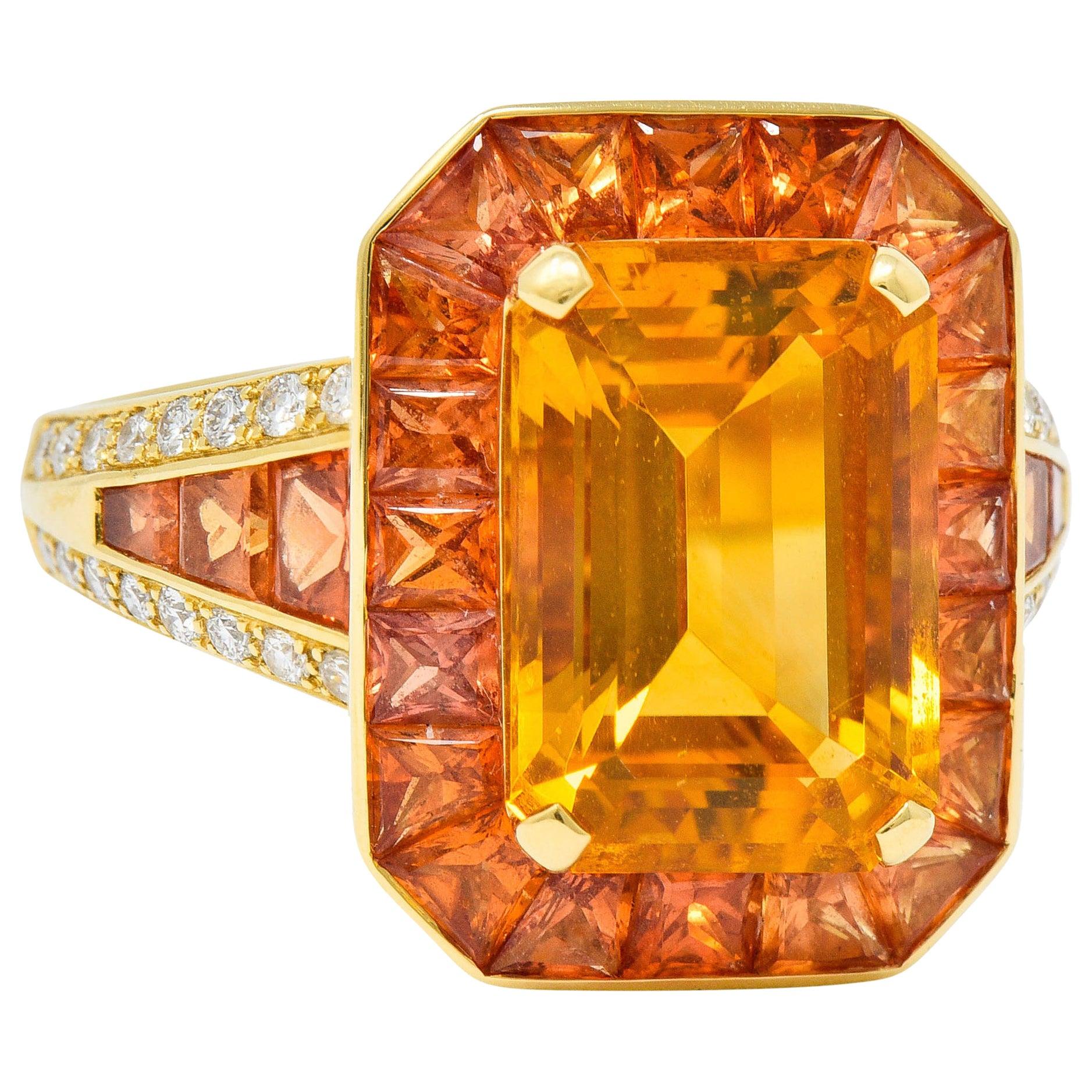 Roberto Coin 6.80 Carats Citrine Sapphire Diamond 18 Karat Gold Cocktail Ring