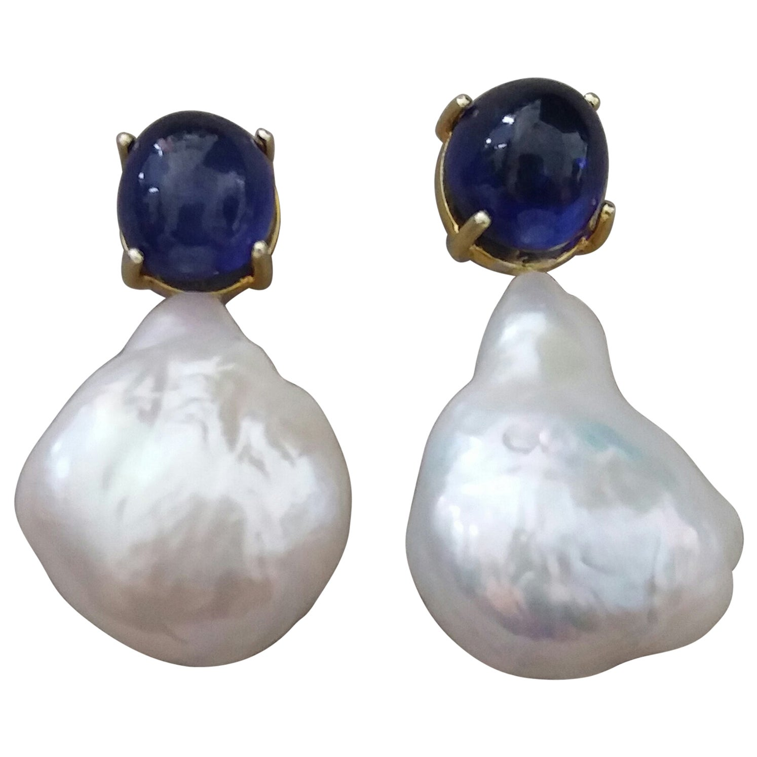 Big Size Pear Baroque Pearls Oval Blue Sapphires Cabochons Yellow Gold Earrings