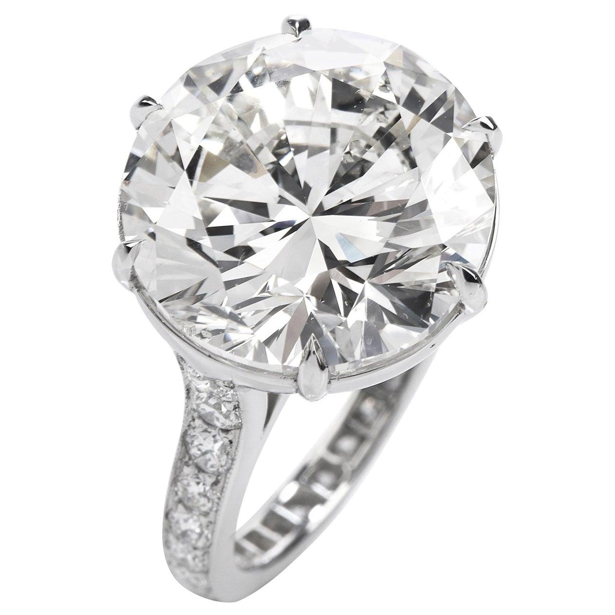 GIA 11.22 Carat Round Diamond Platinum Engagement Ring