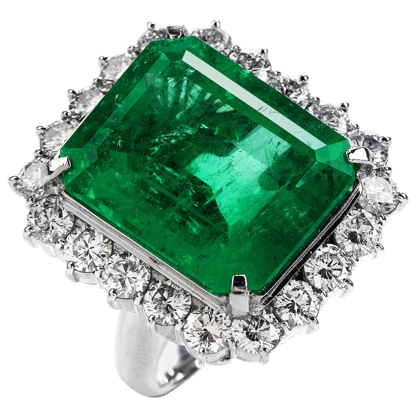 Certified 16.50 Carat Colombian Emerald Diamond Platinum Large Cocktail Ring