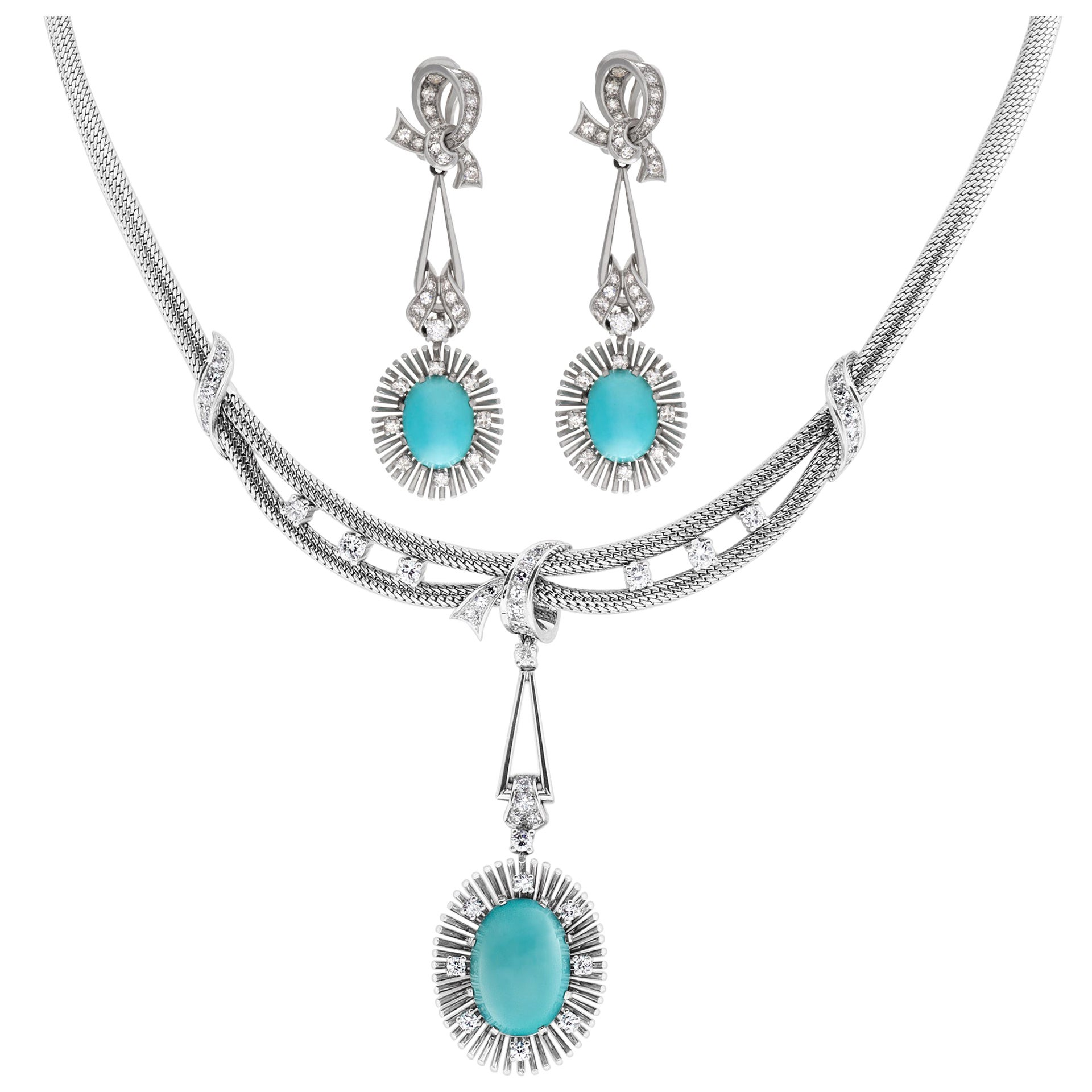 Turquoise and Diamond Necklace and Earrings Set in 18 Karat White Gold