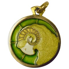 French 18 Karat Yellow Gold Plique-à-Jour Enamel Zodiac Ares Charm Pendant