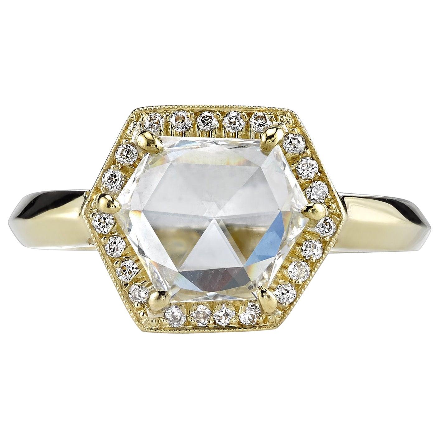 1.66 Carat Rose Cut Diamond Set in a Handcrafted 18 Karat Yellow Gold Ring