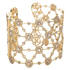 High End Opera Cuff in 20K Yellow Gold with 9.95 Carat Diamonds