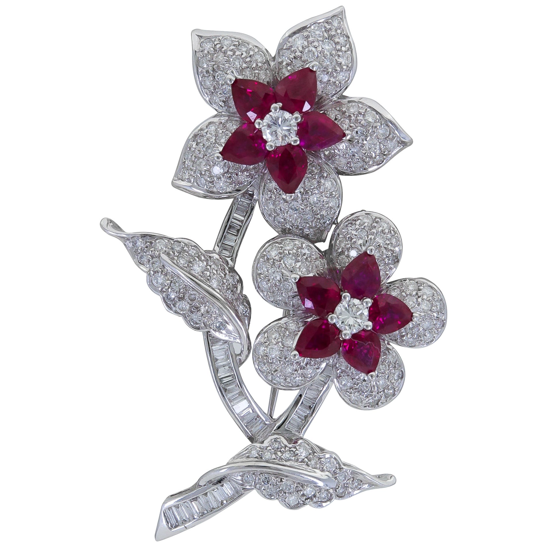 Pear Shape Ruby and Diamond Flower Brooch