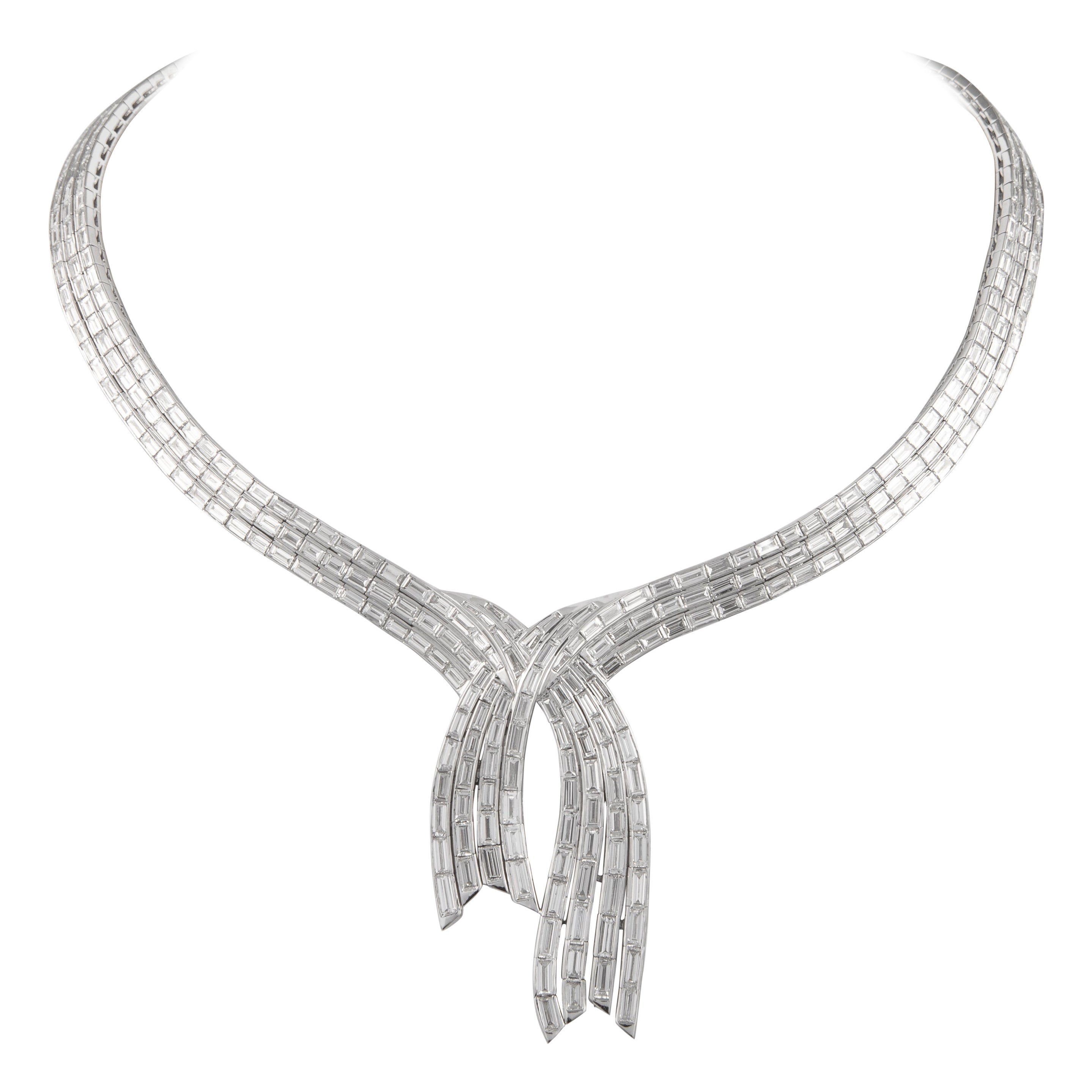 Alexander 31.55 Carat Baguette Cut Diamond 18 Karat White Gold Necklace