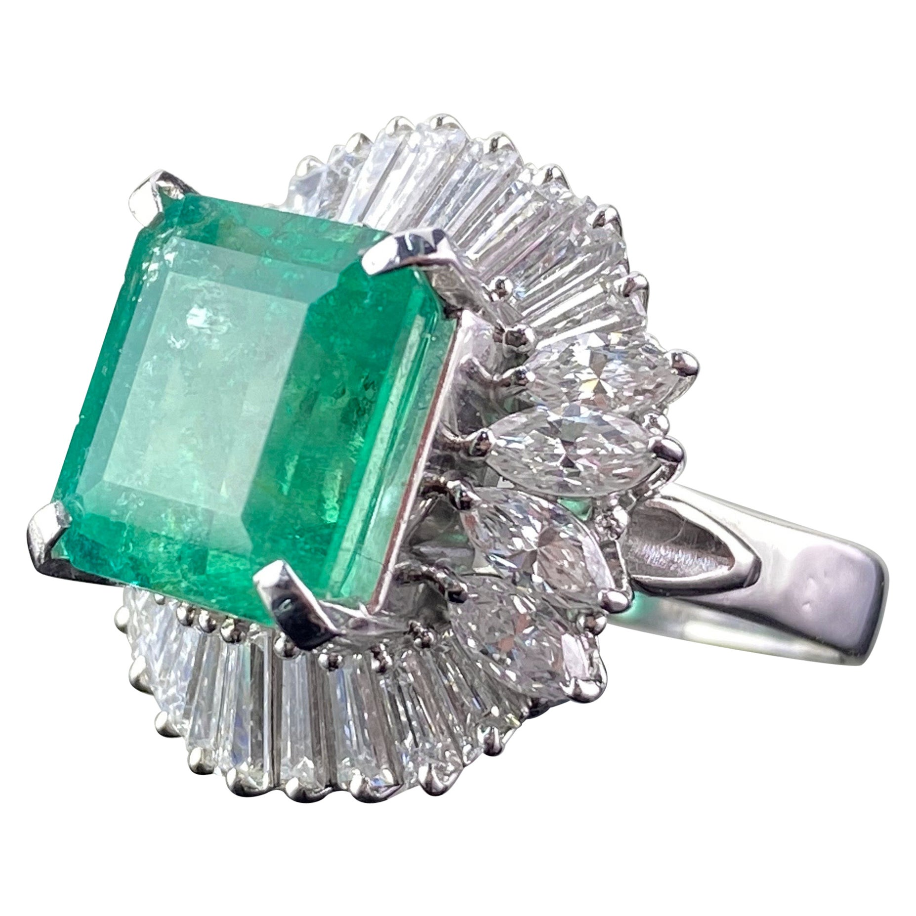 Certified 6.85 Carat Colombian Emerald, Diamond and Platinum Ring