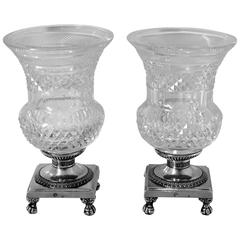 1819 Rare French Sterling Silver Diamond Cut Crystal Vase/Cup Pair Empire period
