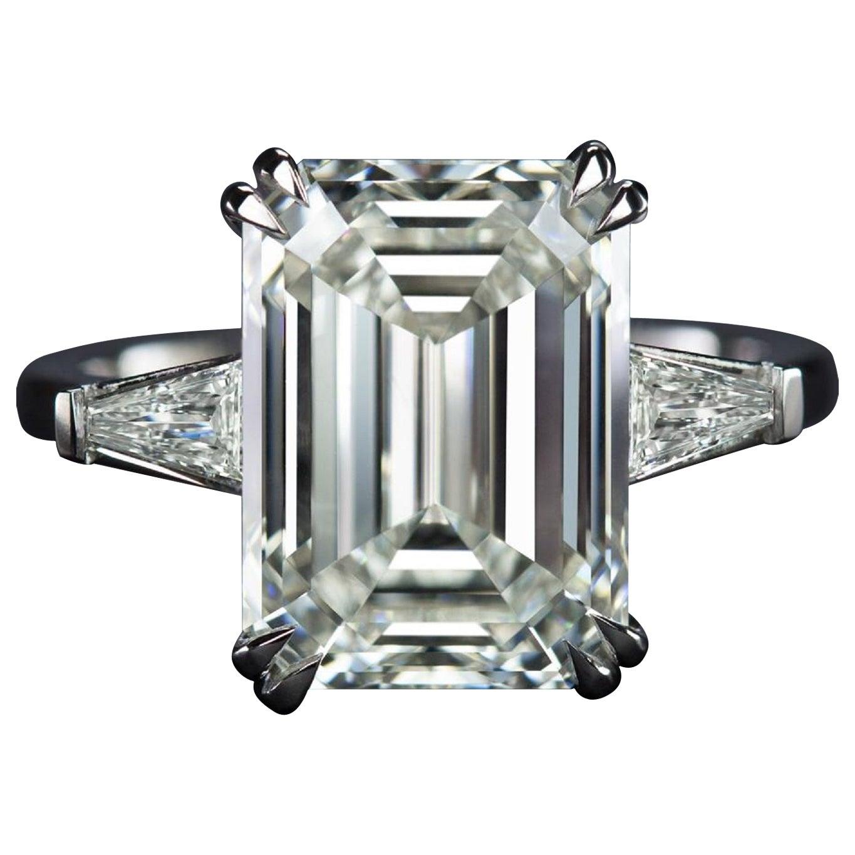 GIA Certified 3.65 Carat Emerald Cut Diamond Platinum Ring