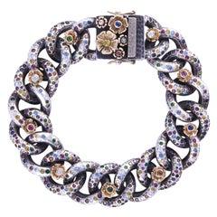 14 Karat Gold, Ruby, Sapphire, Emerald, Diamonds Ooak Tutti Frutti Link Bracelet