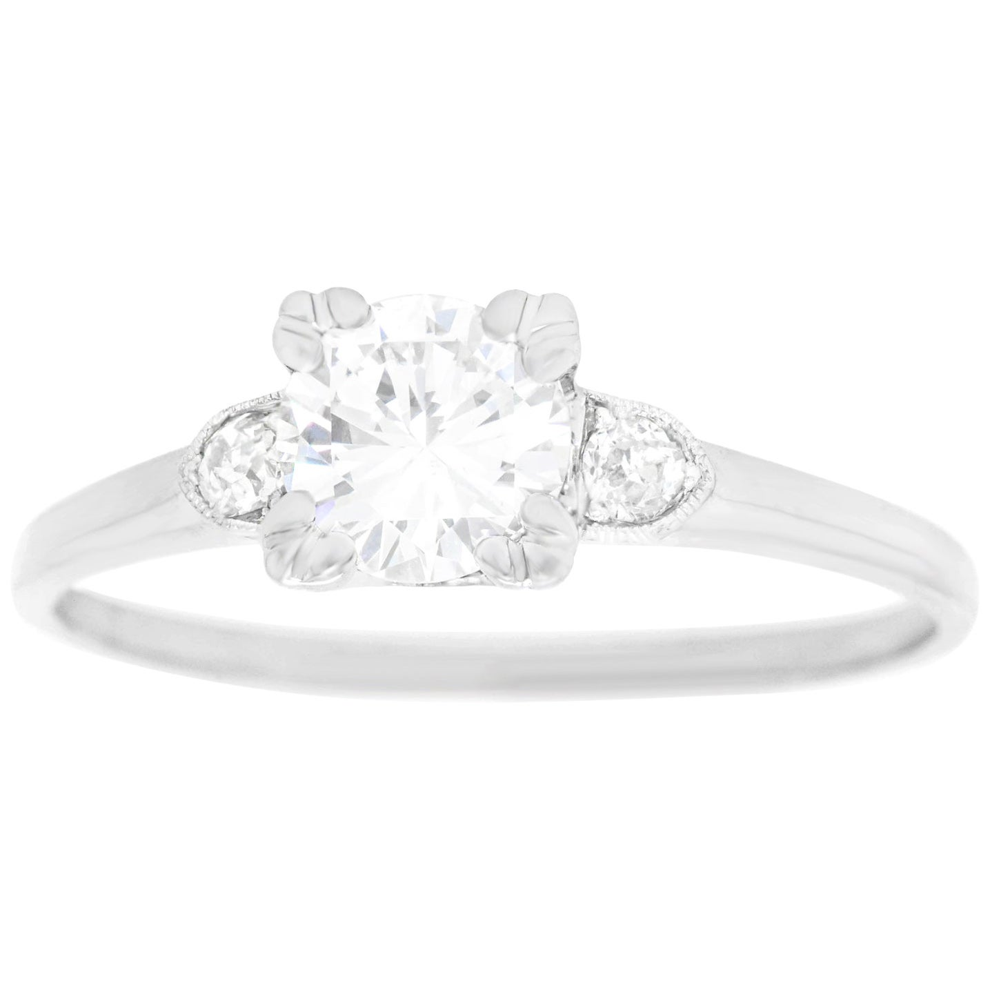 Art Deco .63 Carat Diamond-Set Platinum Engagement Ring GIA