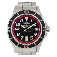 Breitling A17384 Superocean Stainless Steel Black Dial Watch