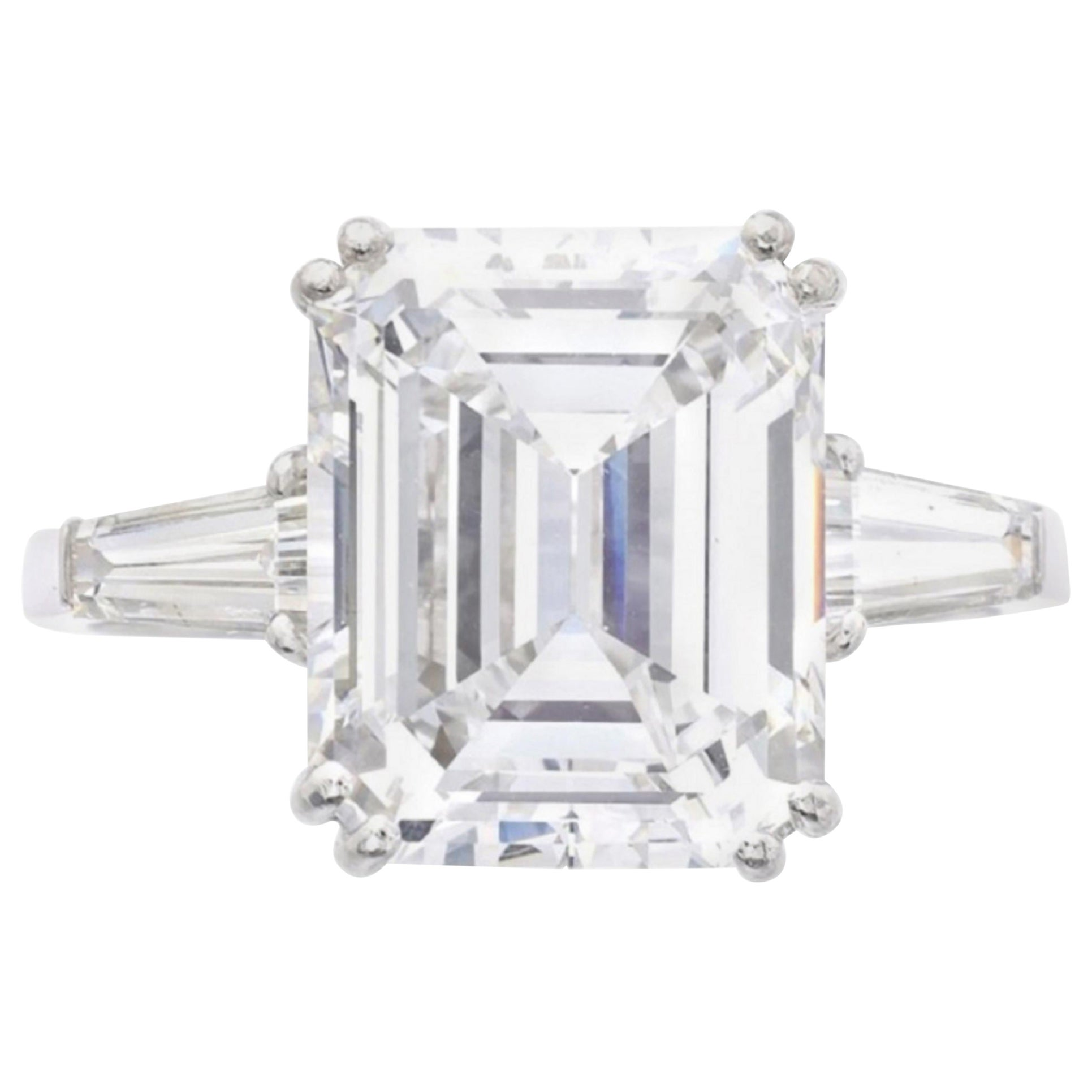 GIA Certified 3 Emerald Cut Diamond D Color VVS2 Clarity
