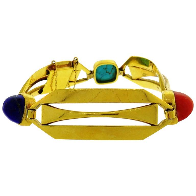 Lapis Lazuli Coral Turquoise Gold Bracelet, Vintage French
