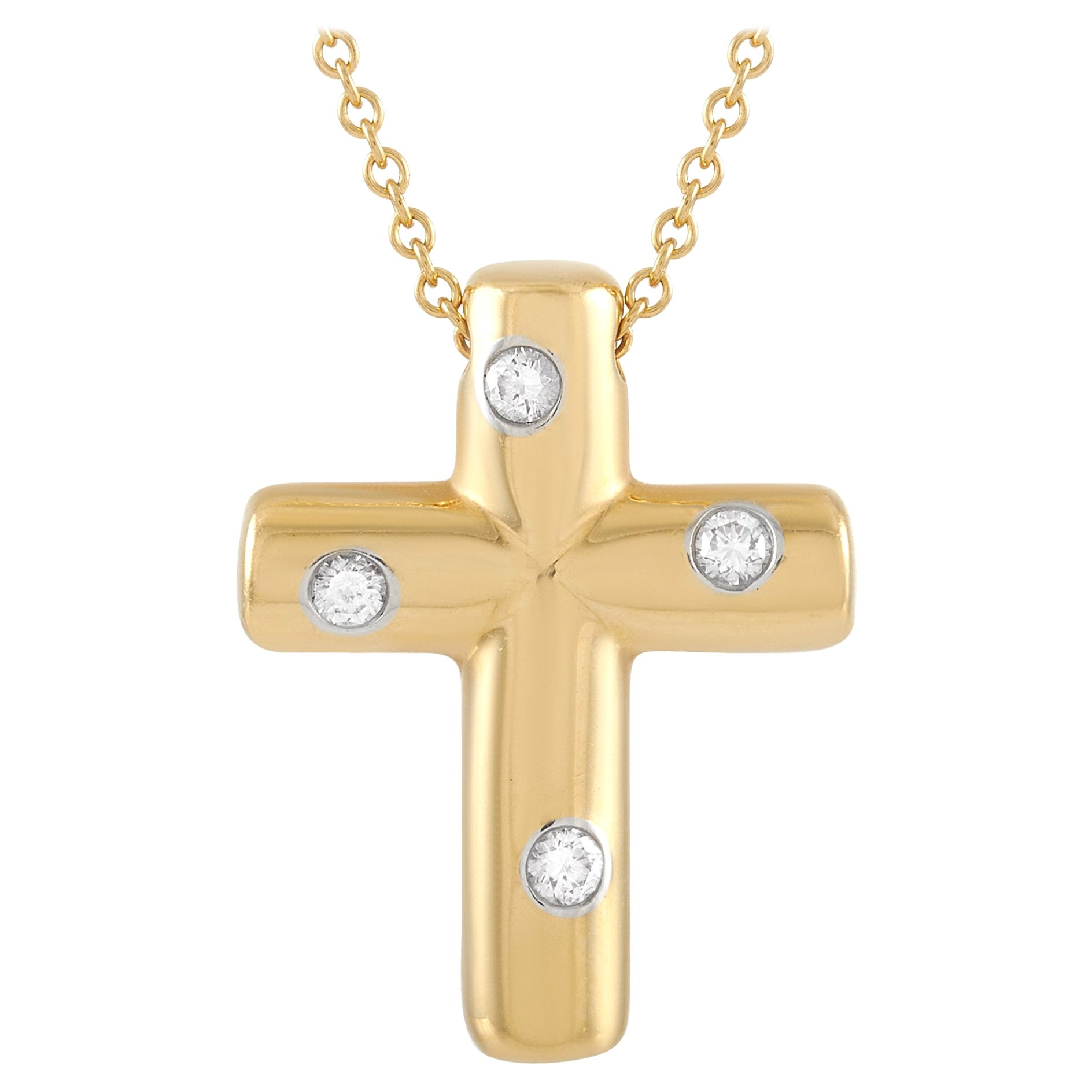 Tiffany & Co. 18 Karat Yellow Gold Diamond Cross Pendant Necklace