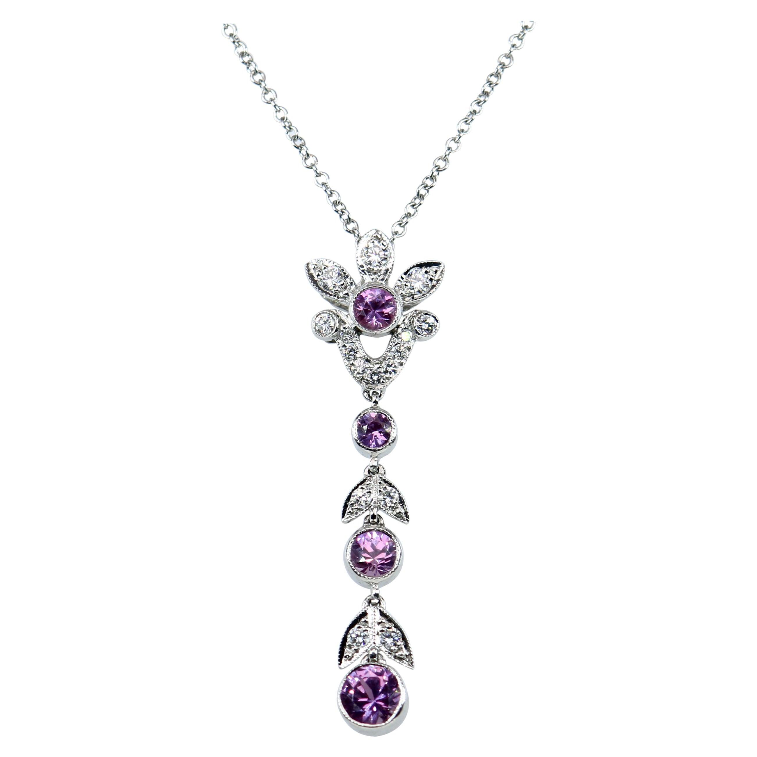 Tiffany & Co. Diamond and Pink Sapphire Platinum Pendant Necklace