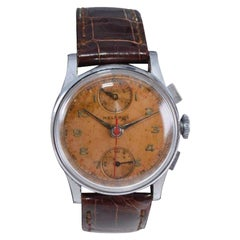 Helbros Stainless Steel Two Register Chronograph Manual Watch, 1940s