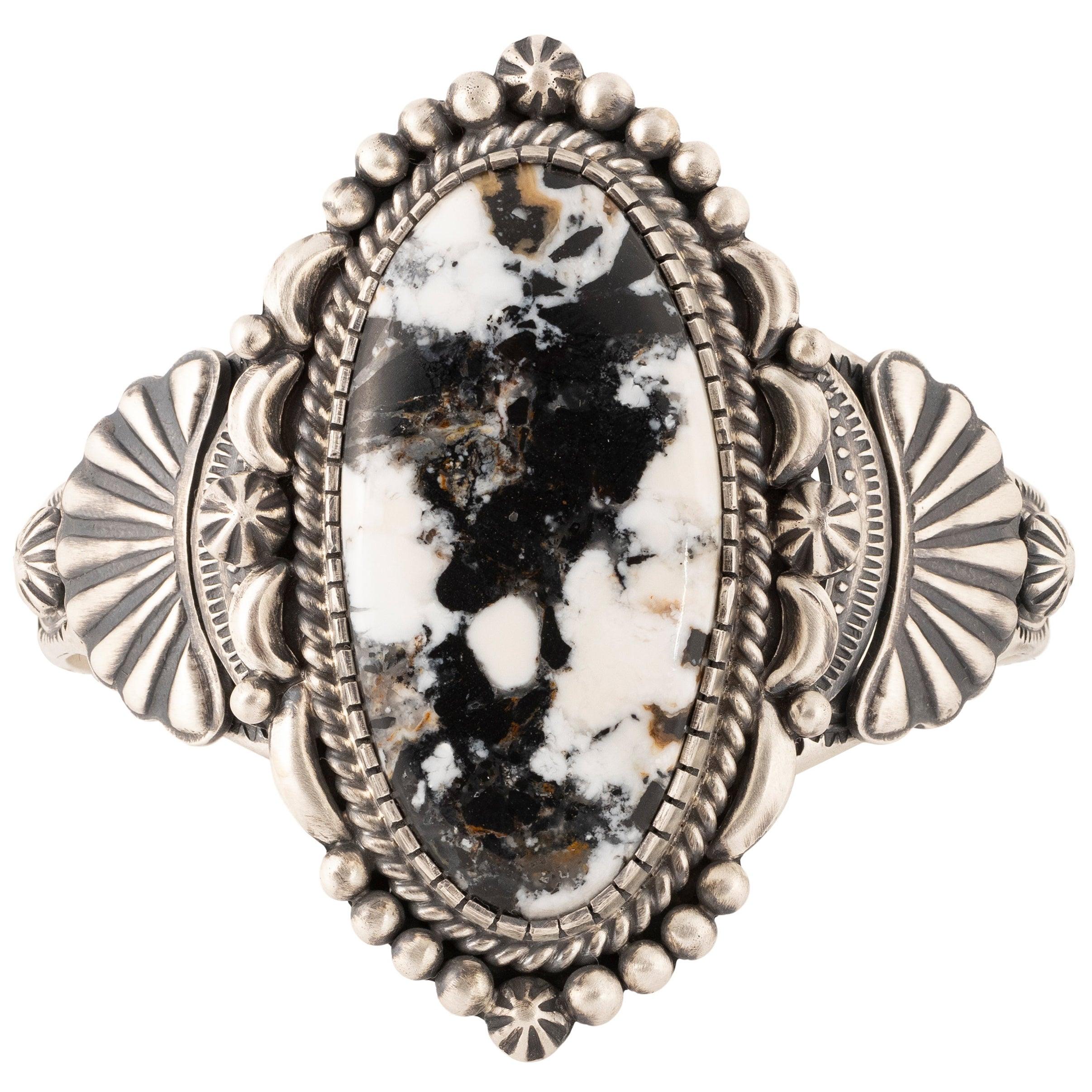 Navajo White Buffalo Turquoise Bracelet