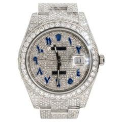 Rolex 116334 Datejust II All Diamond Blue Arabic Dial Watch