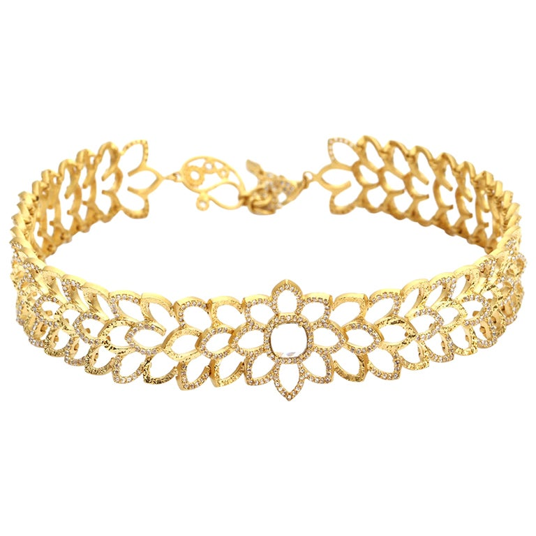 Diamond Choker Necklace in 20K Yellow Gold with 3.0 Carat Diamonds For Sale