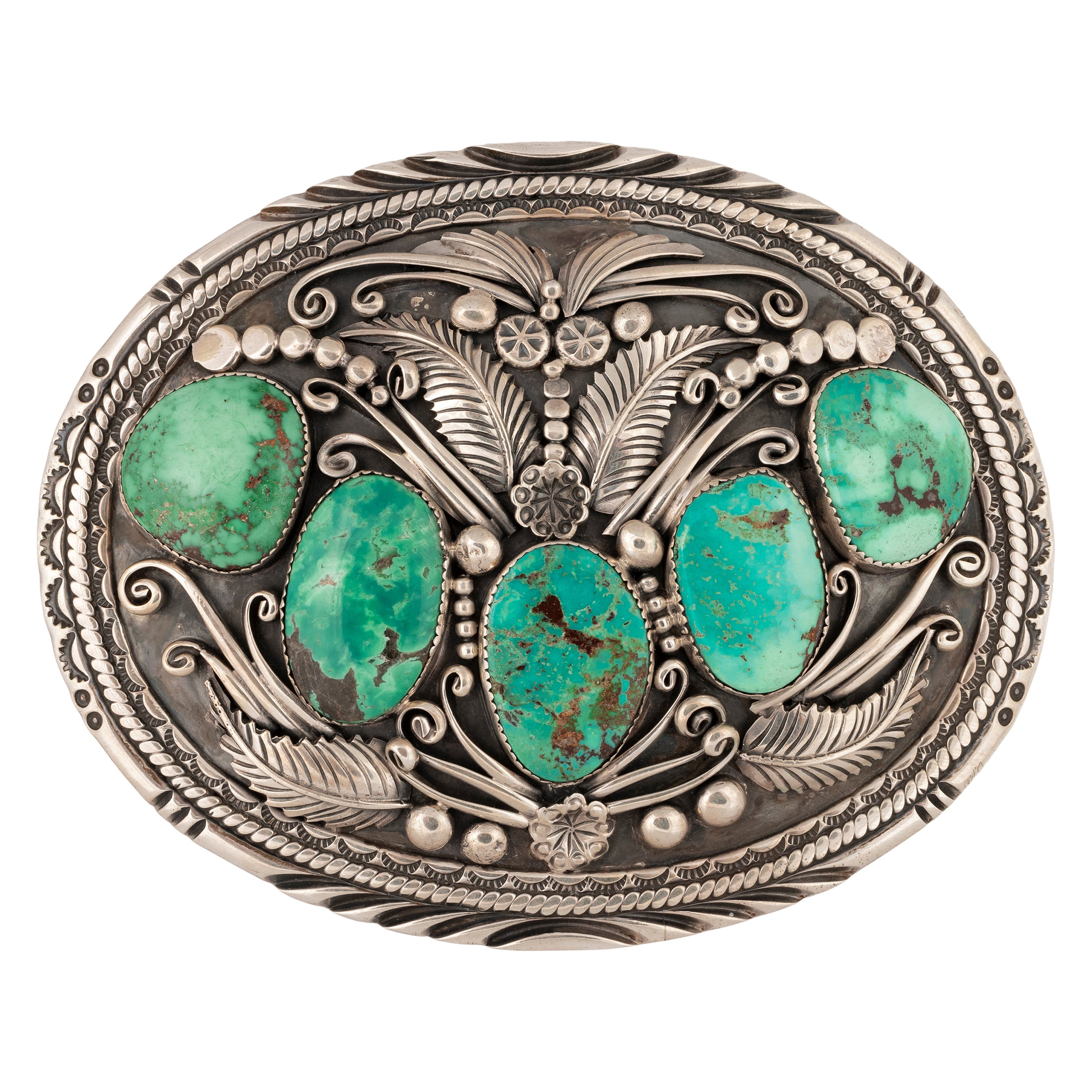 Navajo Blue Diamond Turquoise Belt Buckle by Robert Kelly