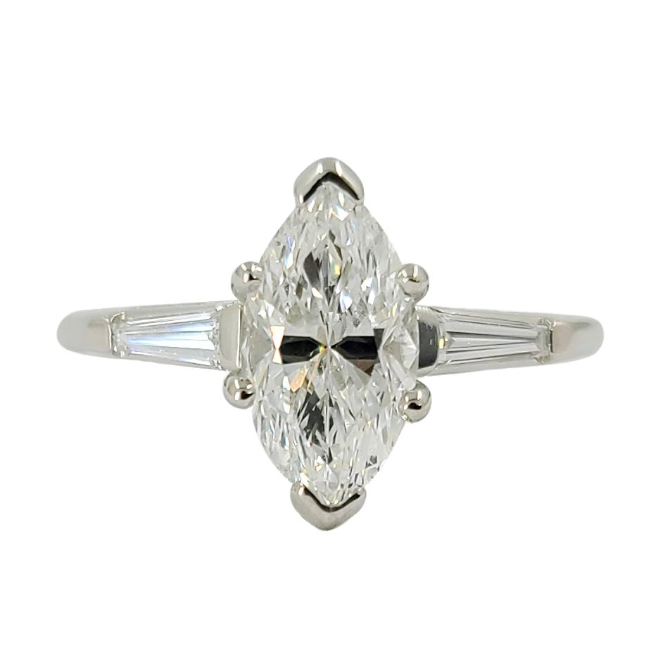 Platinum Marquise Diamond Three-Stone Engagement Ring
