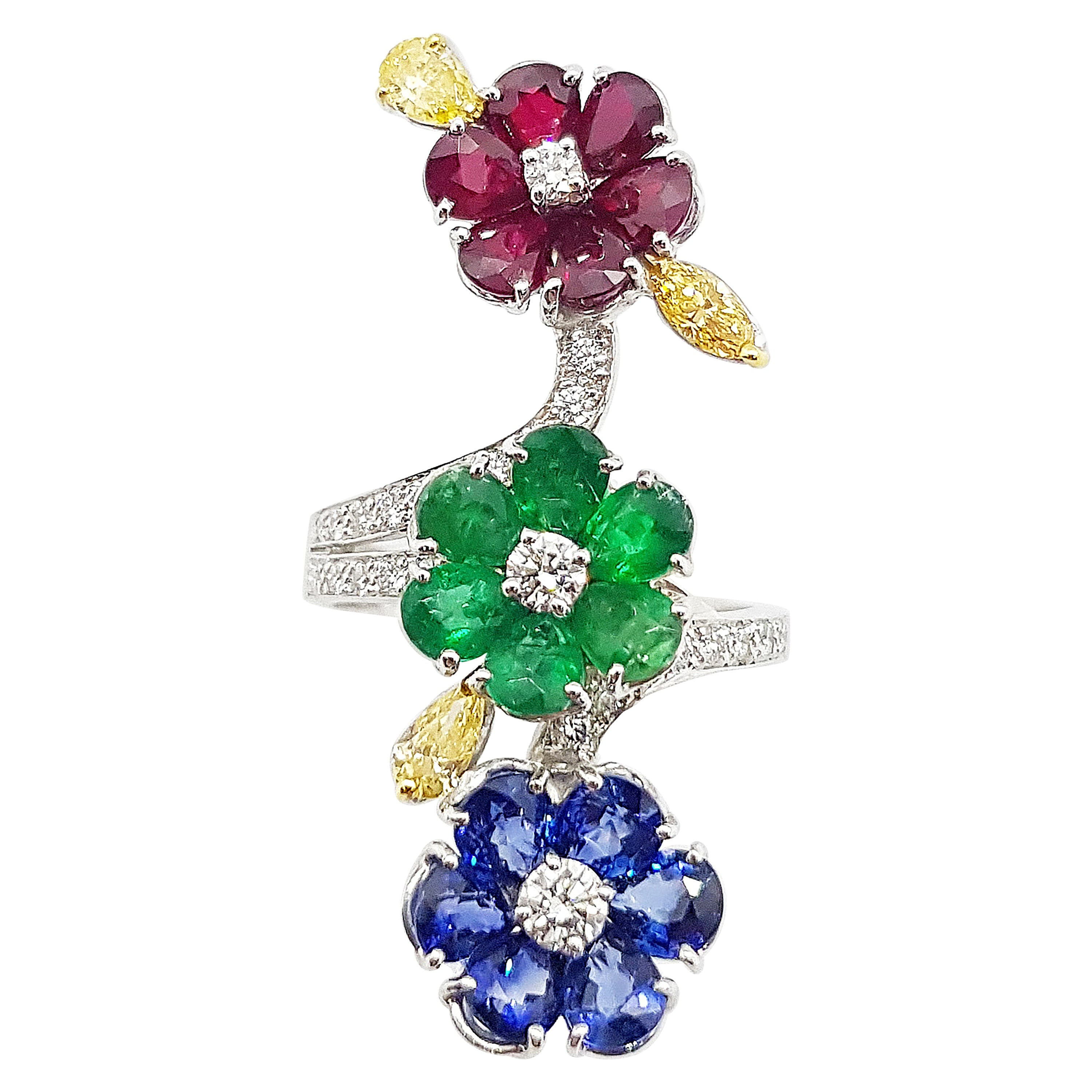 Ruby, Blue Sapphire, Emerald with Yellow Diamond and Diamond Ring 18k White Gold