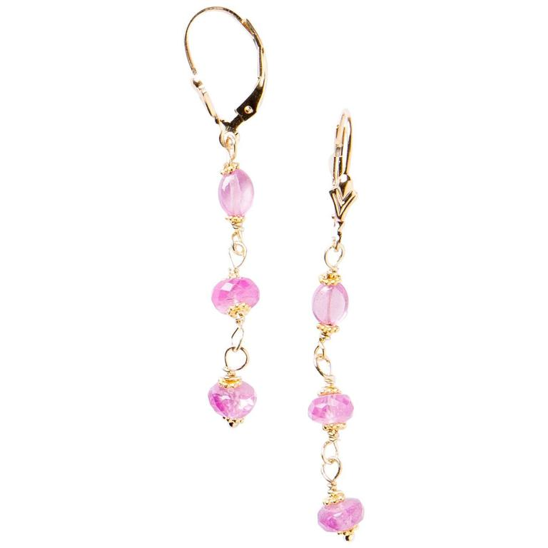faceted pink sapphire gold drop earrings at 1stdibs