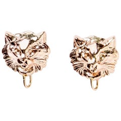 French Cat Earrings in Rose Gold