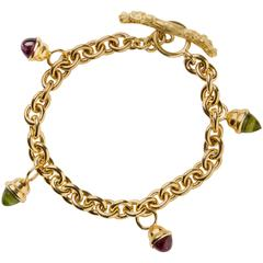 Gold Rolo and Cabochon Charm Bracelet