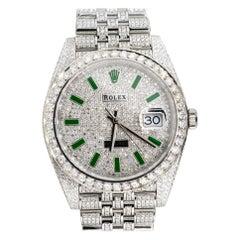 Rolex 126300 Datejust II All Diamond Green Marker Dial Watch