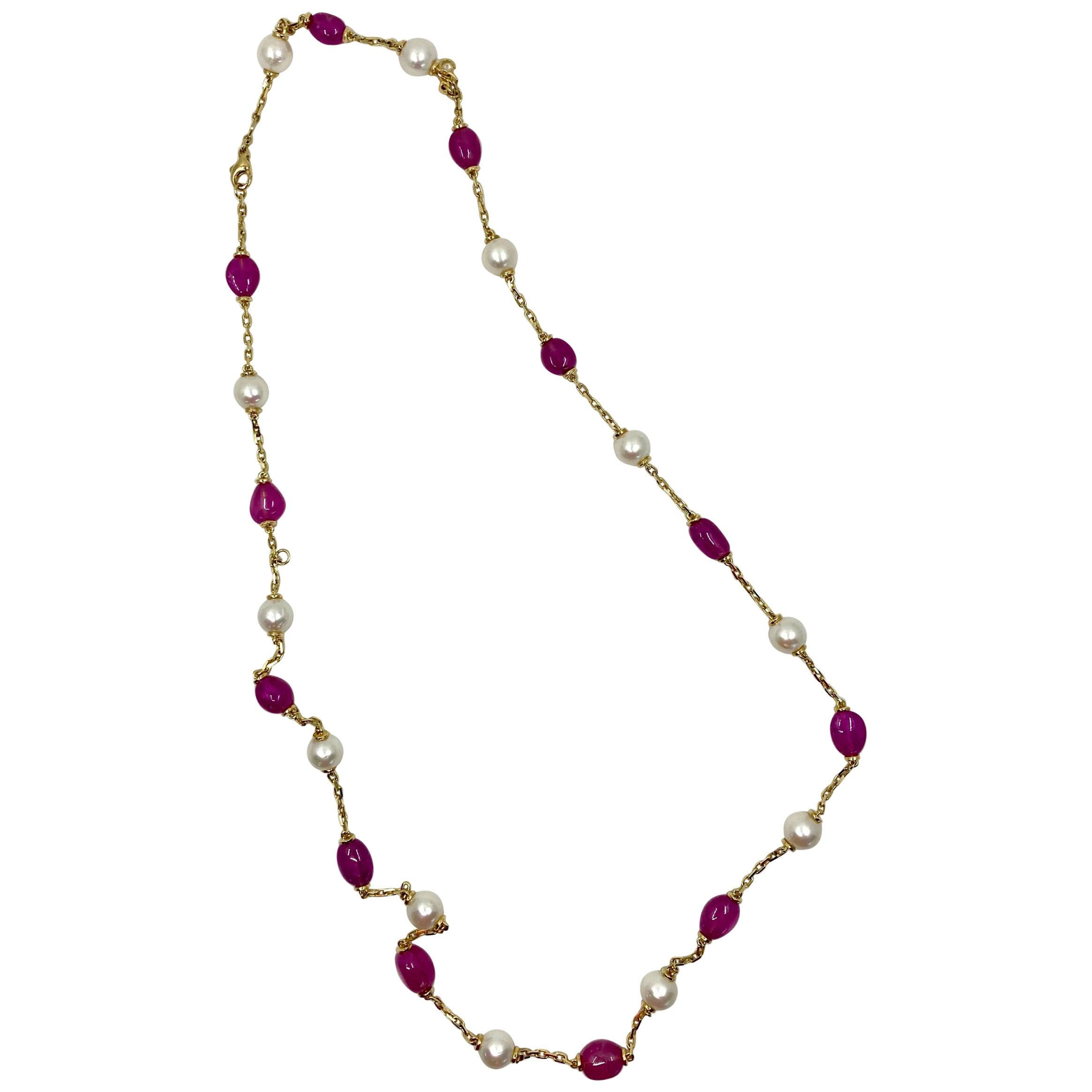 18 Karat Gold Pink Sapphires and Pearls Necklace