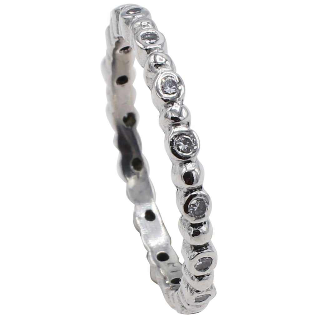 Platinum Diamond Thin Eternity Band Stackable Ring