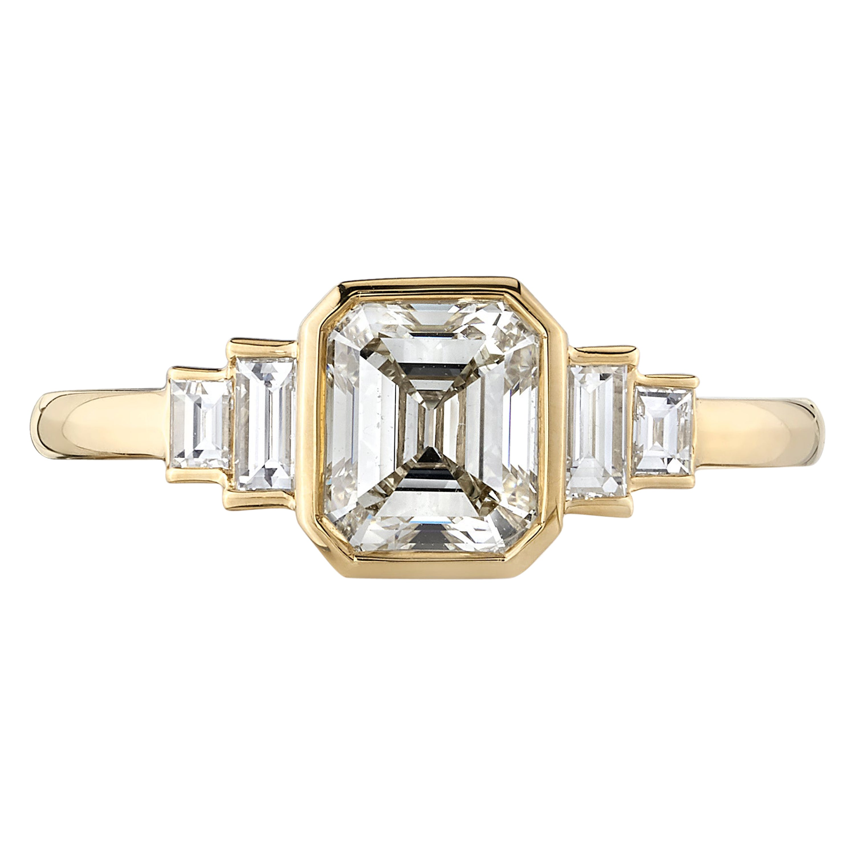 1.11 Carat Asscher Cut Diamond Set in a Handcrafted Yellow Gold Engagement Ring