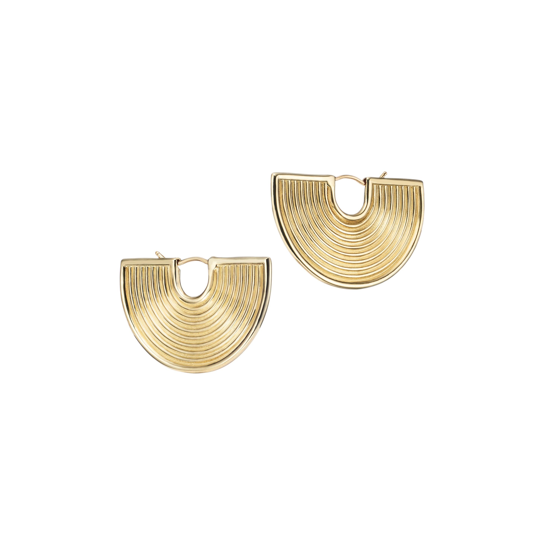 18kt Fairmined Ecological Yellow Gold Deity Fan Statement Earrings