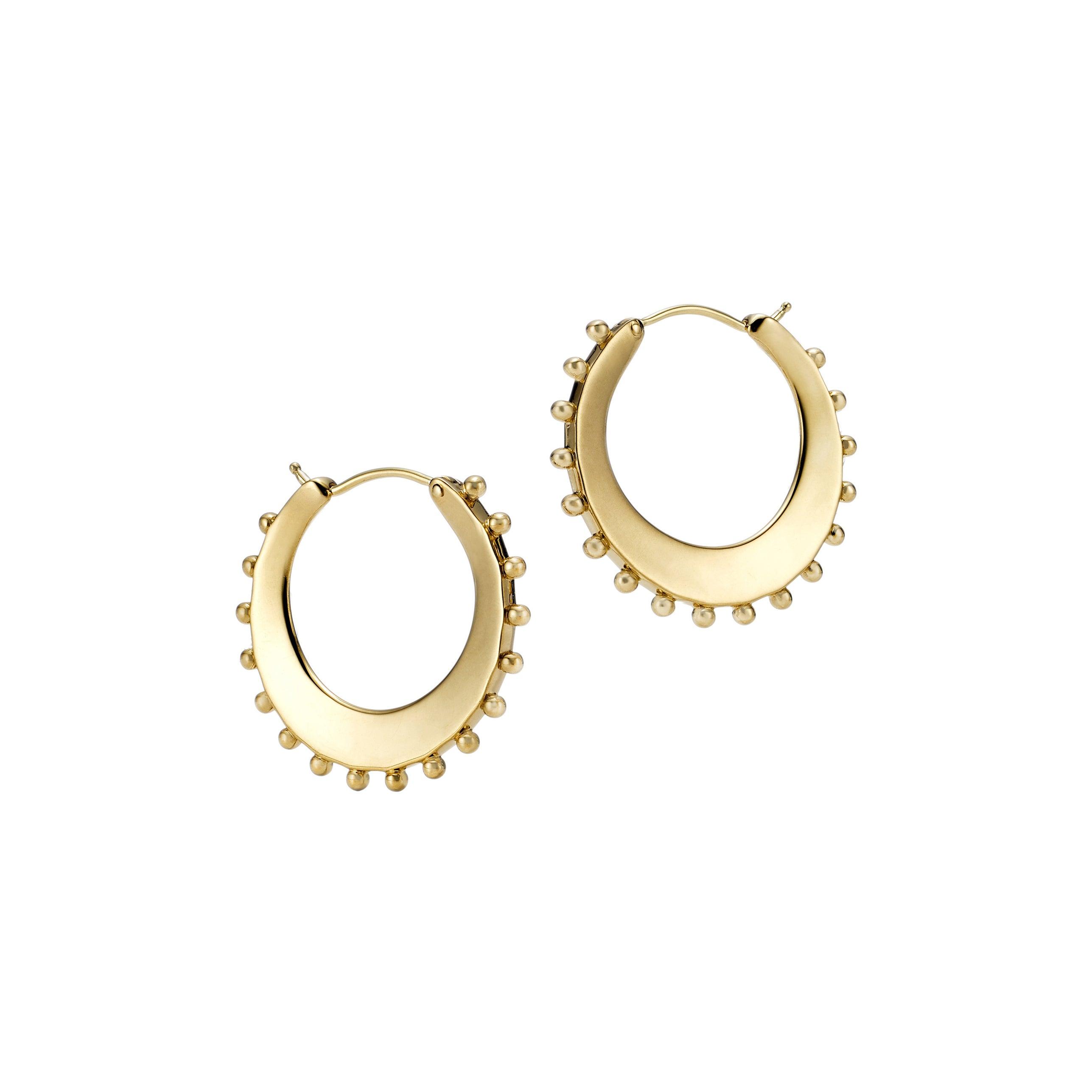 18kt Fairmined Ecological Yellow Gold Beaded Power Hoop Earrings