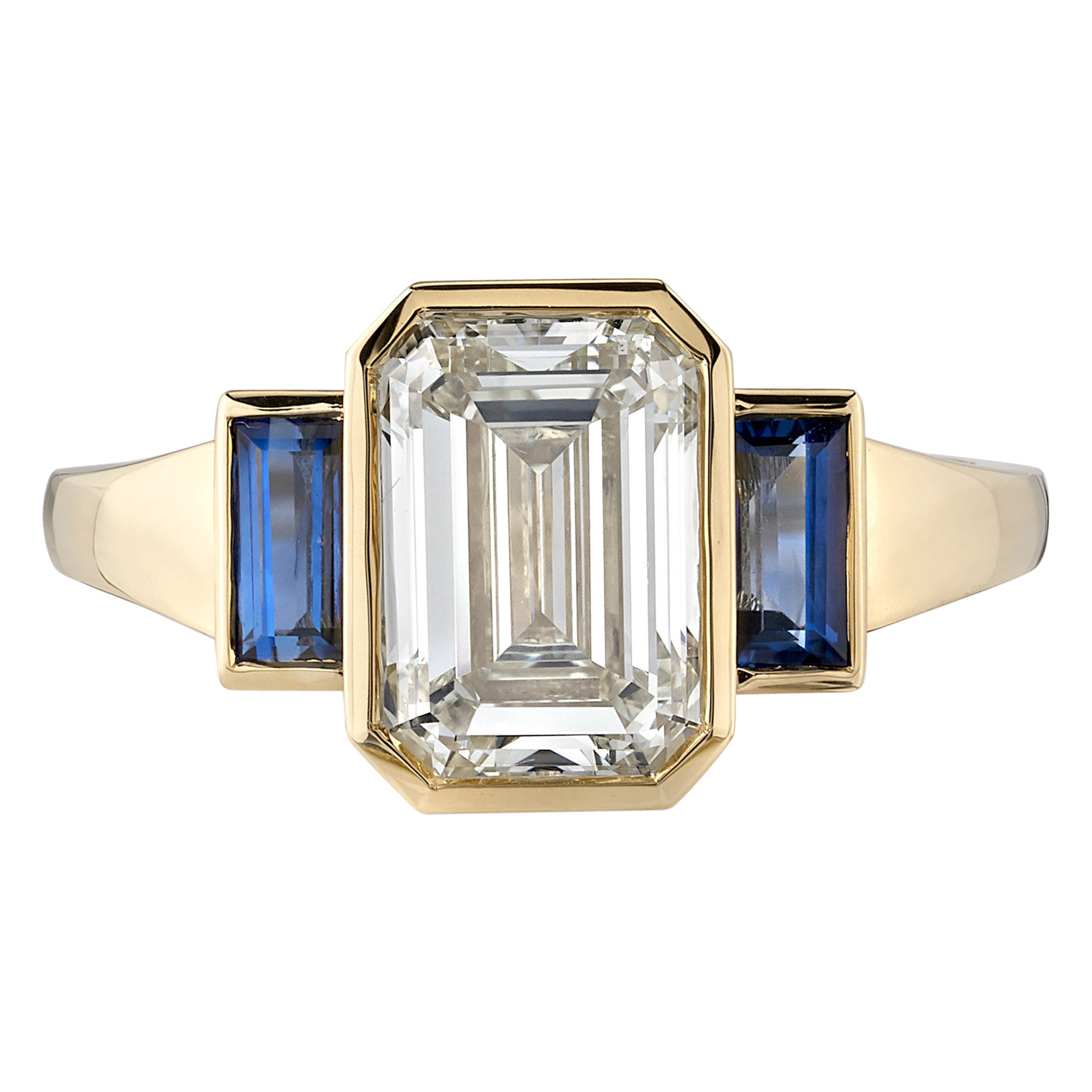 2.23 Carat Emerald Cut Diamond Set in a Handcrafted Yellow Gold Engagement Ring