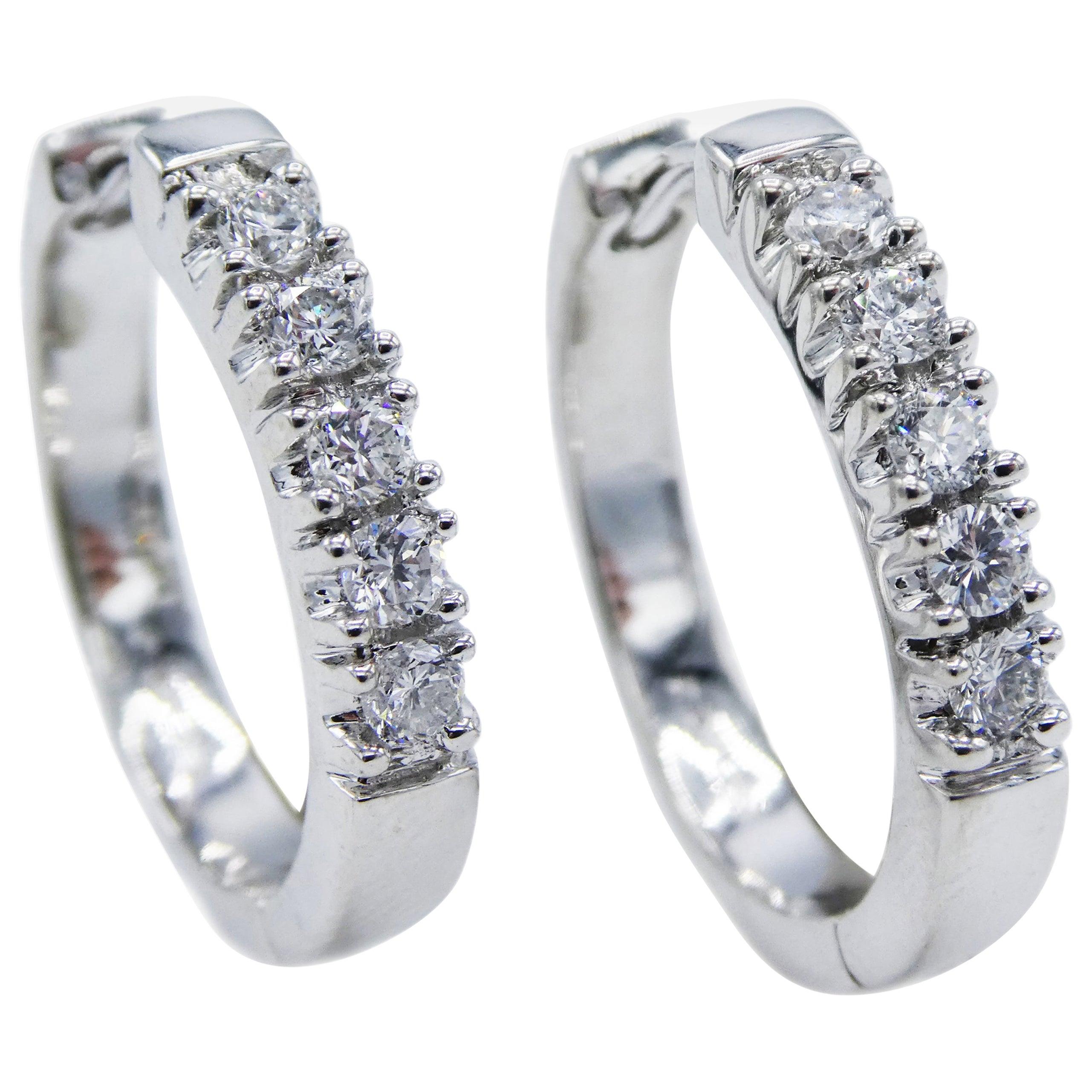 14 Karat White Gold 0.50 Carat Diamond Huggie Hoop Earrings