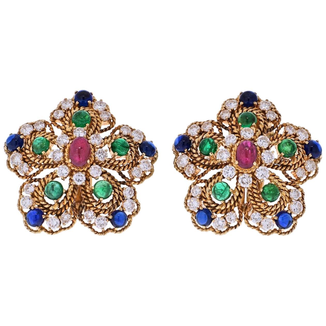 18K Gold 1970s Multigem Ruby, Sapphire, Emeralds and Diamond Flower Earrings