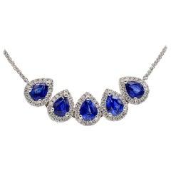 Sapphire Drop with Diamond Halo Necklace