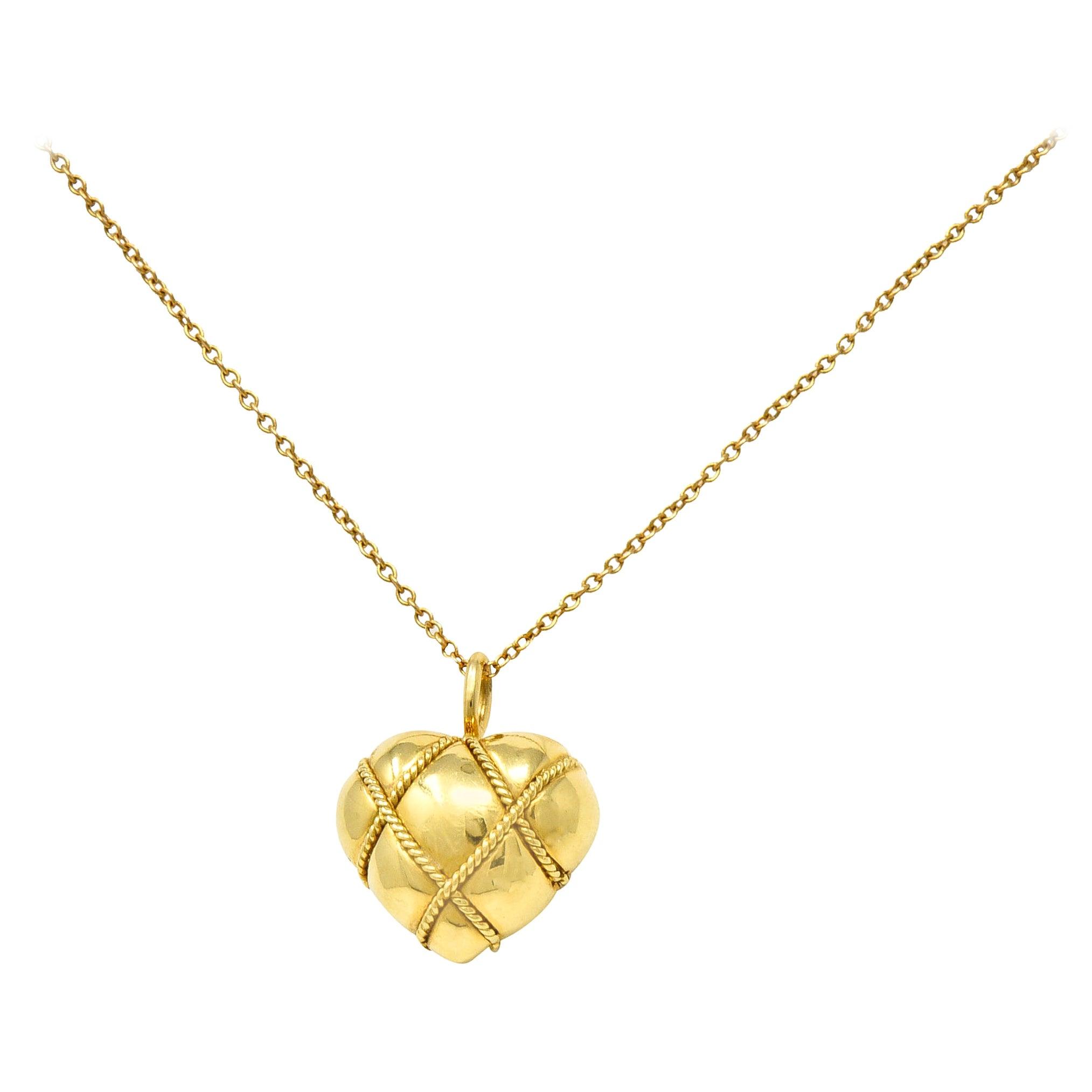 Tiffany & Co. Vintage 18 Karat Gold Cross My Heart Pendant Necklace