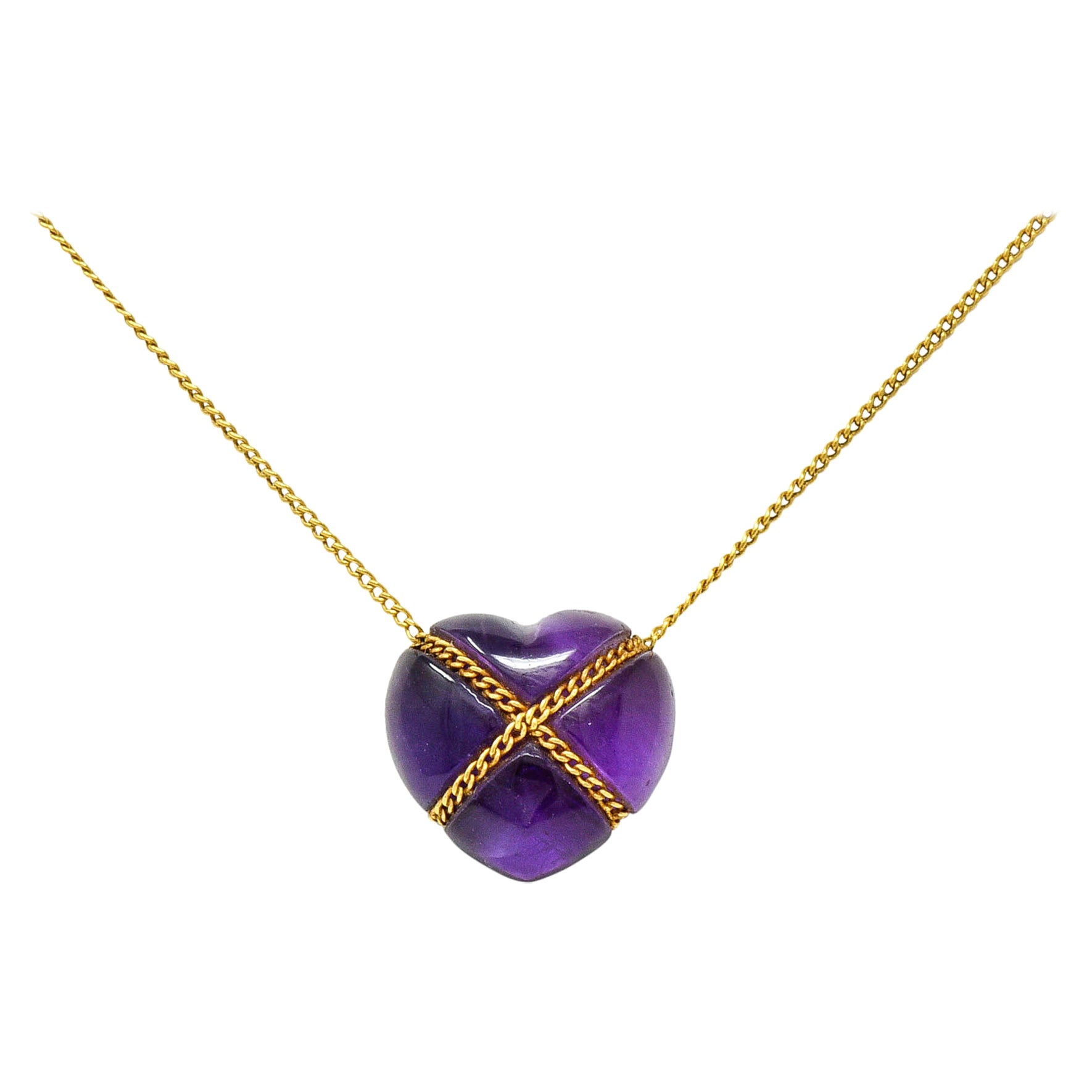 Tiffany & Co. Amethyst 18 Karat Gold Cross My Heart Necklace