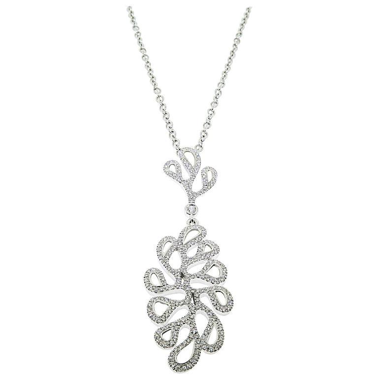 Mother of Pearl Diamond gold Sea Leaf Pendant