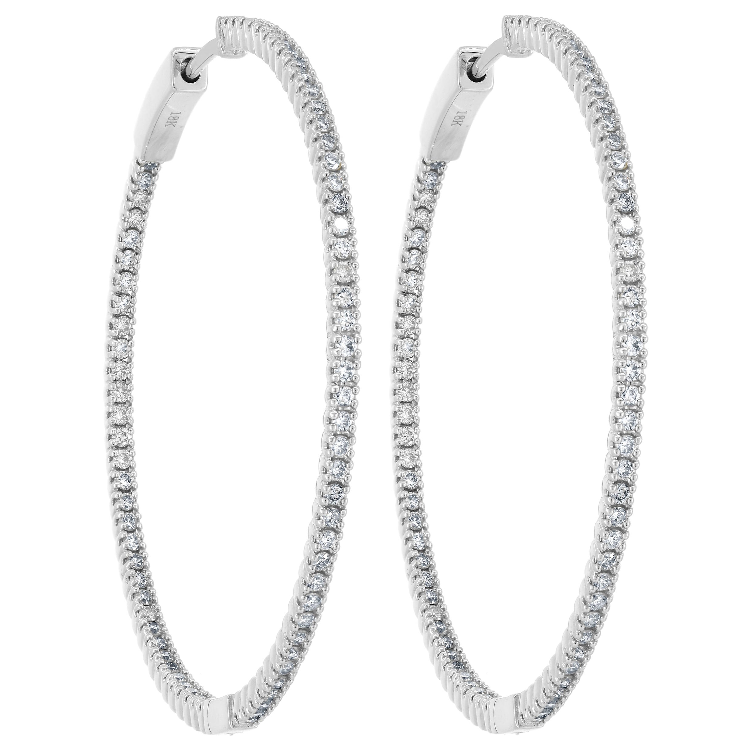 18 Karat White Gold Pave Diamond Inside and Out Hoop Earrings