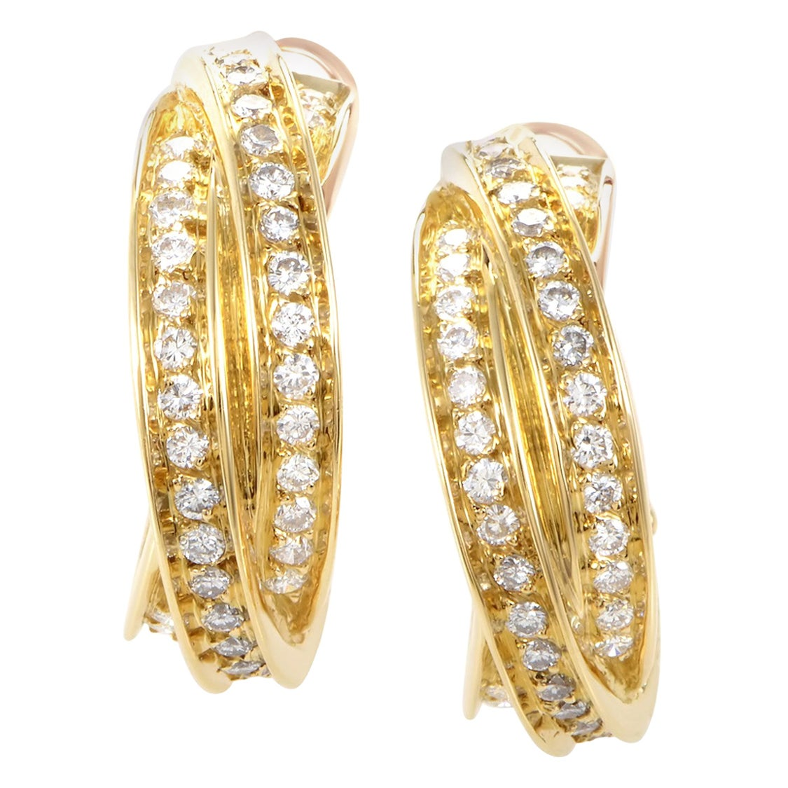Cartier Trinity 18 Karat Yellow Gold Diamond Pave Clip-On Hoop Earrings