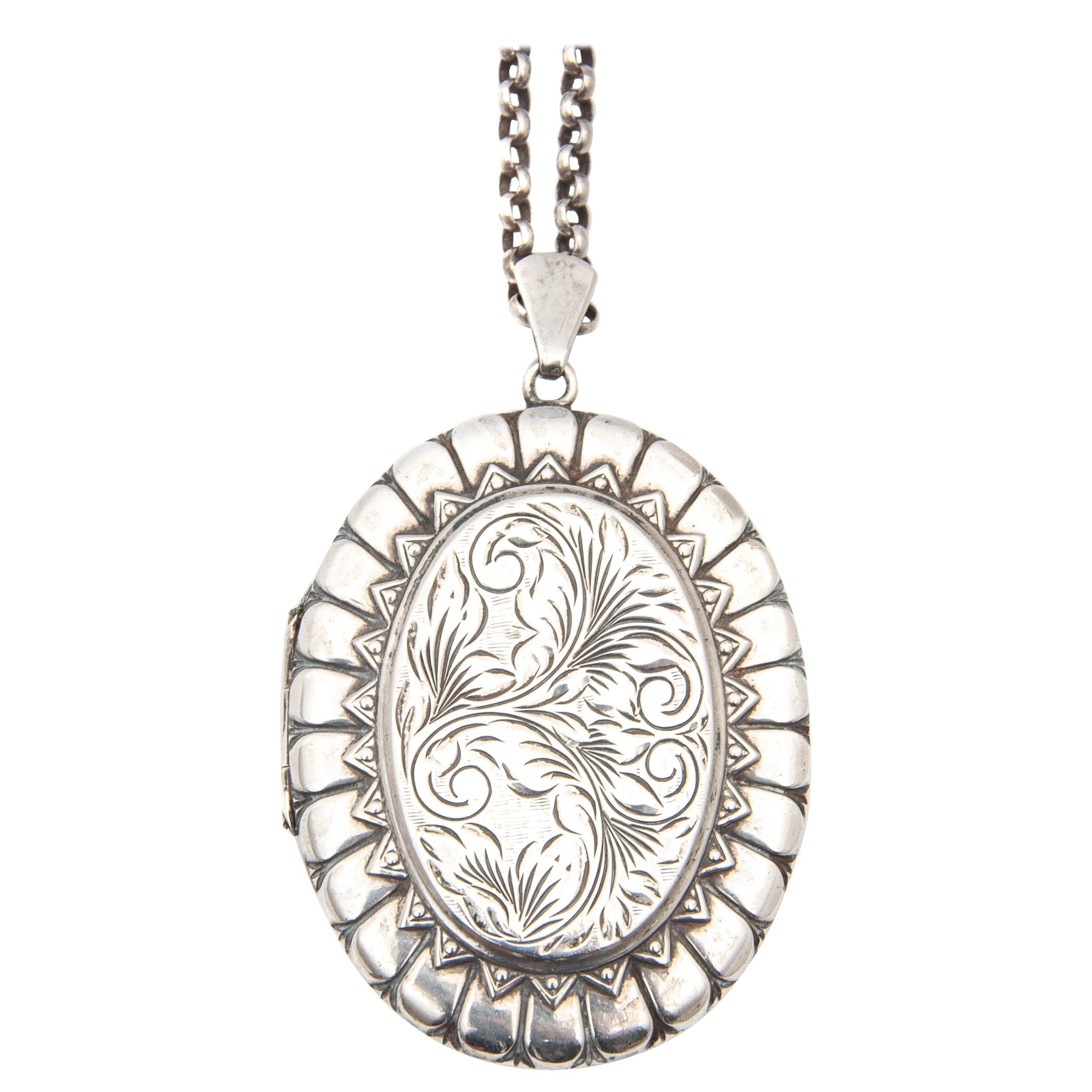Sterling Silver Etched Locket Pendant Necklace