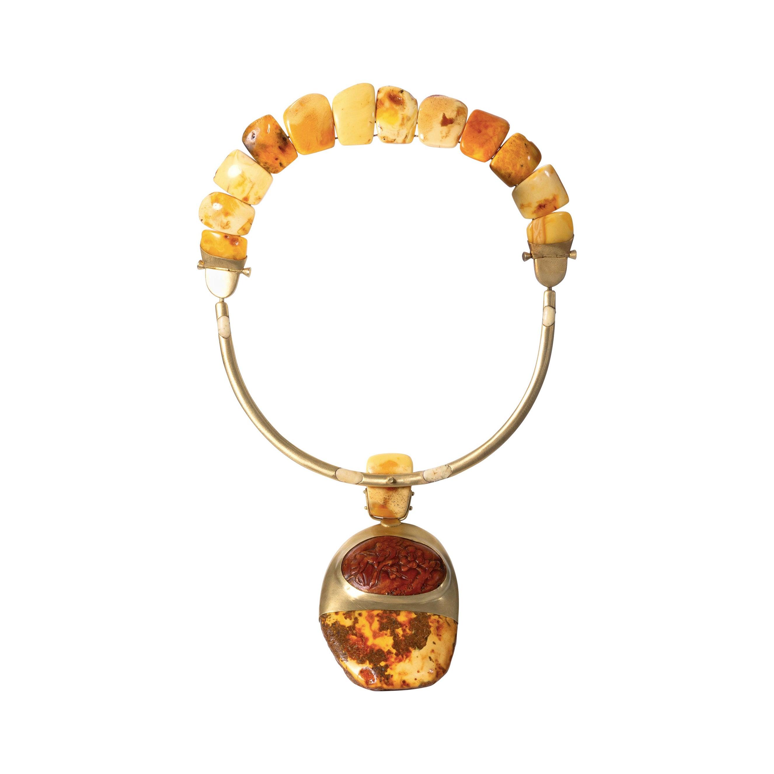 22 Karat Gold, Latvian White Amber and Baltic Amber Pendant Necklace