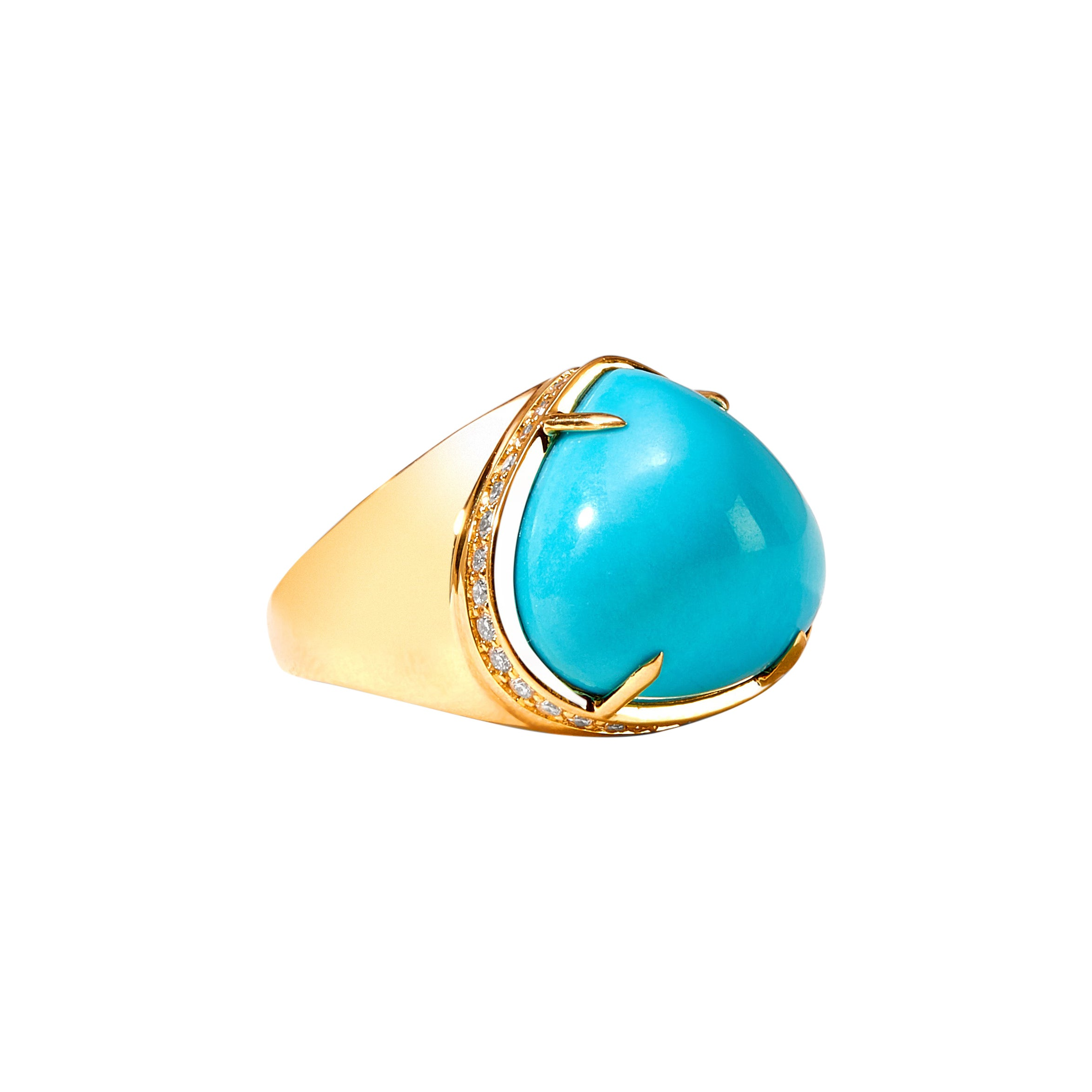 Syna Sleeping Beauty Turquoise Yellow Gold Ring with Champagne Diamonds